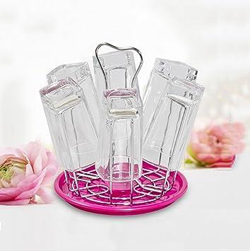 Soporte de estante de secado tazas de metal,Cocina estante vidrio taza porta vaso desagüe portatazas de bandeja de plástico hogar armario-A: Amazon.es: ...
