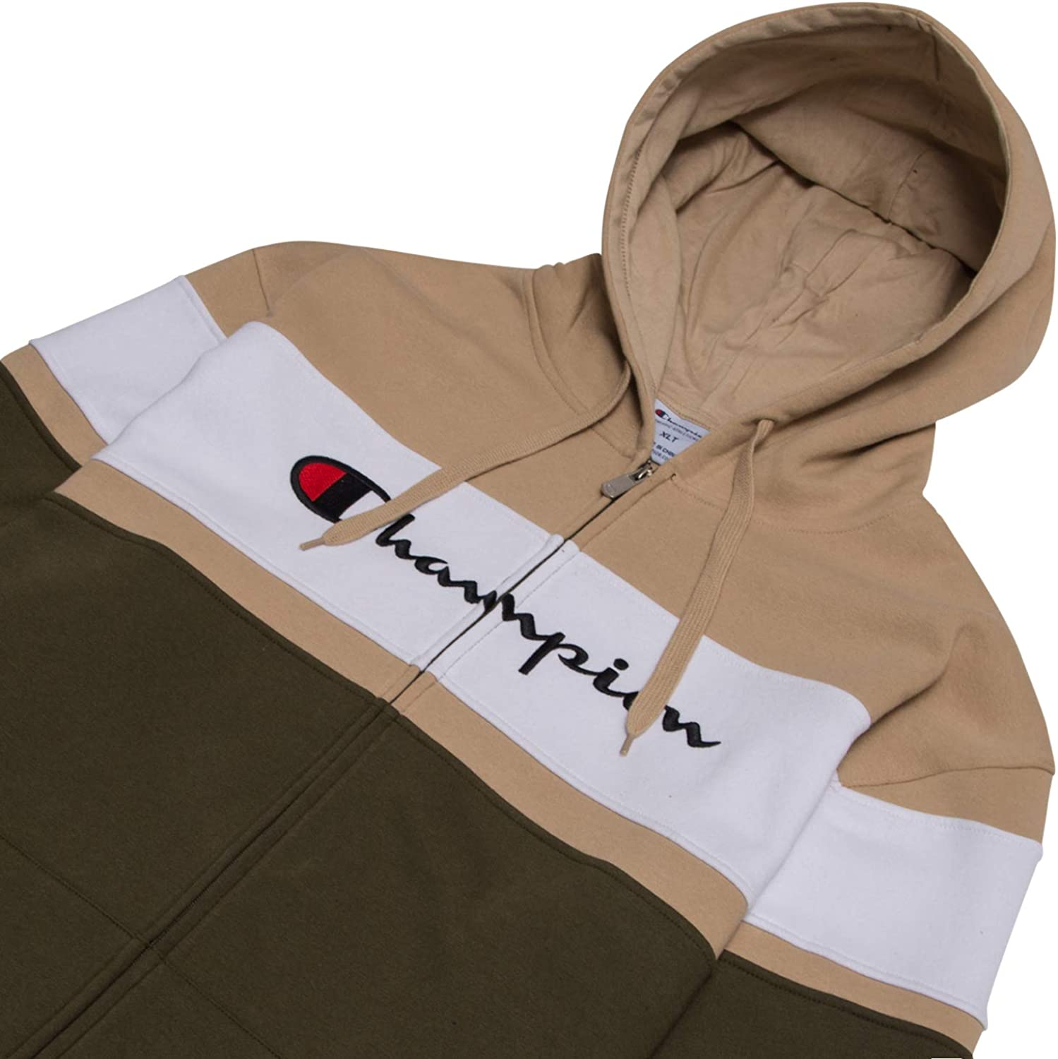 Champion Big and Tall Mens Color Block Full Zip Hoodie with Embroidered Logo
