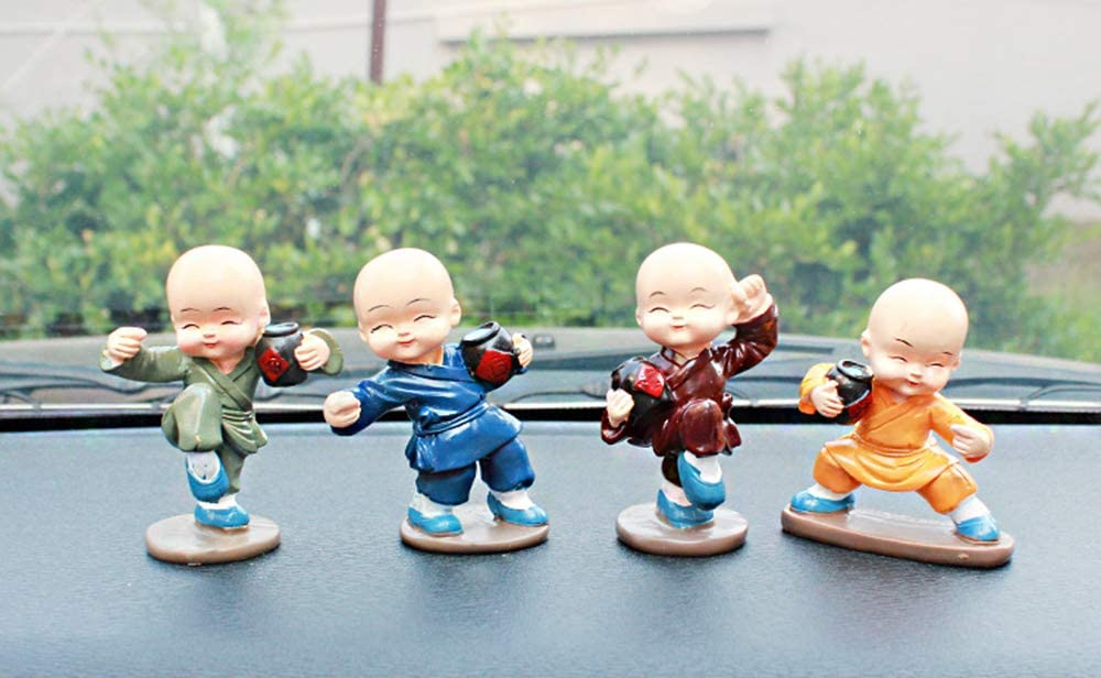 Four Little Cute Kongfu Monk Toy for Car Interior Display Dashboard Ornament,for Kid Children Room Decoration,Sitting Room,Furnishing,Gift