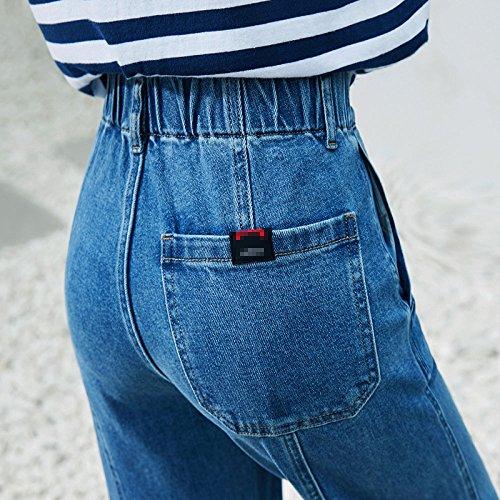 De Pantalones Mezclilla Vaqueros Recta Pierna Mujer Cintura De De Blue Pantalones Suelta Pantalones De ADEMI SRBxqvw5q