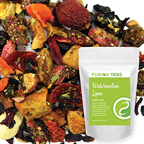 Fusion Round Basket - Watermelon Lime Pomegranate Green Tea - Gourmet Loose Leaf Superfruit Tea With Almost Zero Calories and Low Caffeine - 5 Oz. Pouch