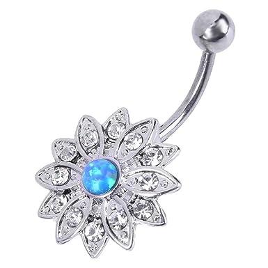 Zibuyu Elegant Natural Body Piercing Jewelry Opal Crystal Flower Navel Nail (Op05) bfb3169cc1f2