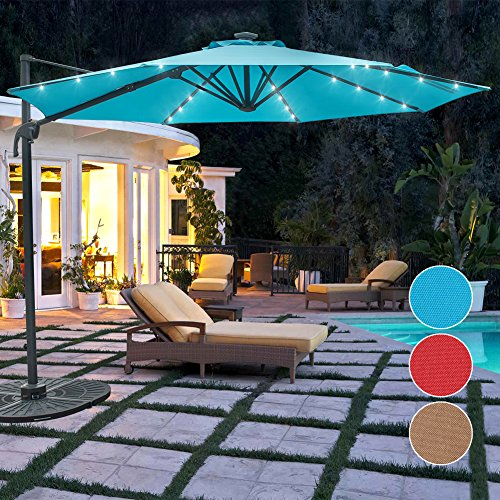 Sundale Outdoor 10 ft Solar Powered 28 LED Lighted Aluminum Offset Hanging Patio Umbrella with Crank and Cross Bar Set, Cantilever Umbrella for Deck, Garden, Backyard, Polyester Canopy (Blue) by Sundale Outdoor