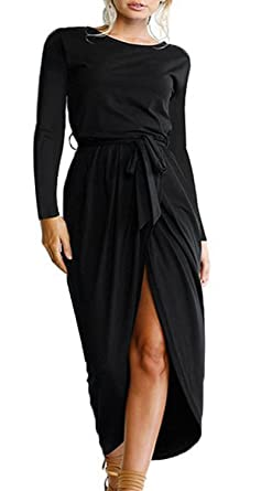 8a44e8b7a6 shangke Women's Casual Long Sleeve Front Slit Solid Party Long Maxi Dress  with Belt (Black