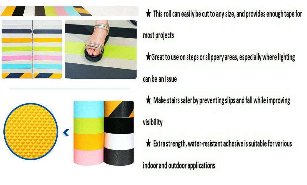 Black Anti Slip Safety Tape, Water Resistant High Traction Grip for Stairs, Steps, Boats, Garage, Ladders, Wear Resistant Strong Adhesive Rubberized Steady Treads Indoor Or Outdoor (2'' x16.4') by ZSAT (Image #3)