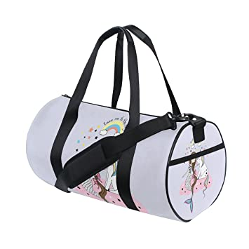 Amazon.com   Naanle Unicorn Mermaid Rainbow Gym bag Sports Travel Duffle  Bags for Men Women Boys Girls Kids   Sports Duffels b2533bc870