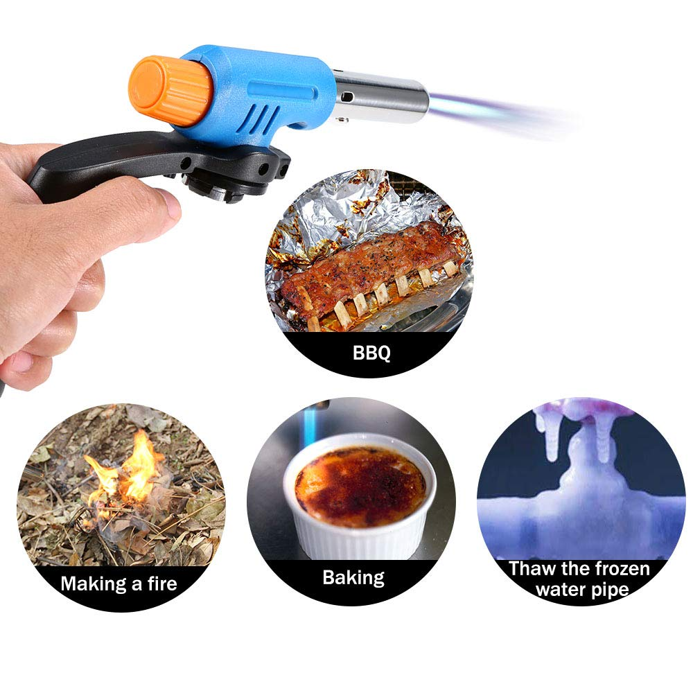 Lixada1 Handle Spray Igniter Stove Piezo Ignition Cooking Culinary Blow Torch Outdoor Camping Picnic BBQ Ignitor Torch Valve Connector
