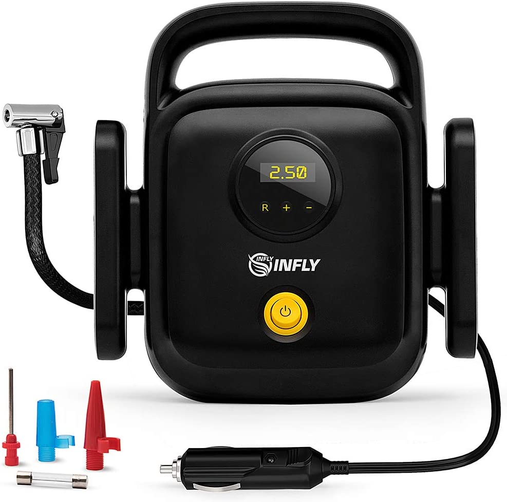 INFLY Car Air Pump Tire Pump - Air Portable Compressor Tire Inflator - Portable Air Compressor for Car - Tire Inflator Air Compressor Pump - Automatic Pump for Car Tire & Other Inflatables