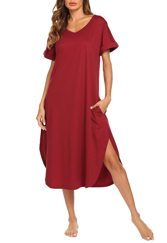 Aviier Sleepwear Women's Long Nightgown Side Pockets V Neck Short Sleeve Maxi Night Dress