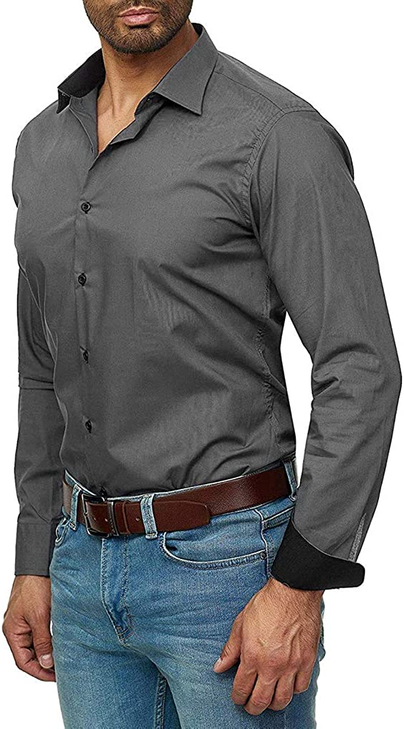 Mens Dress Shirt Stylish Long Sleeve Button Down Solid Color Cotton Business Shirt Big and Tall