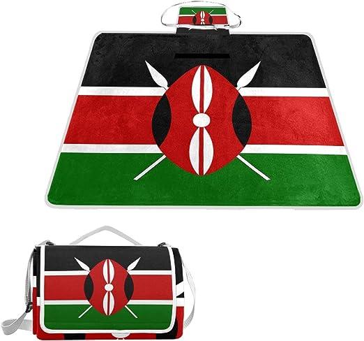 All3DPrint - Manta de Playa con Bandera de Kenya para pícnic, 57 x 59 Pulgadas, para Senderismo, césped, Viajes: Amazon.es: Jardín