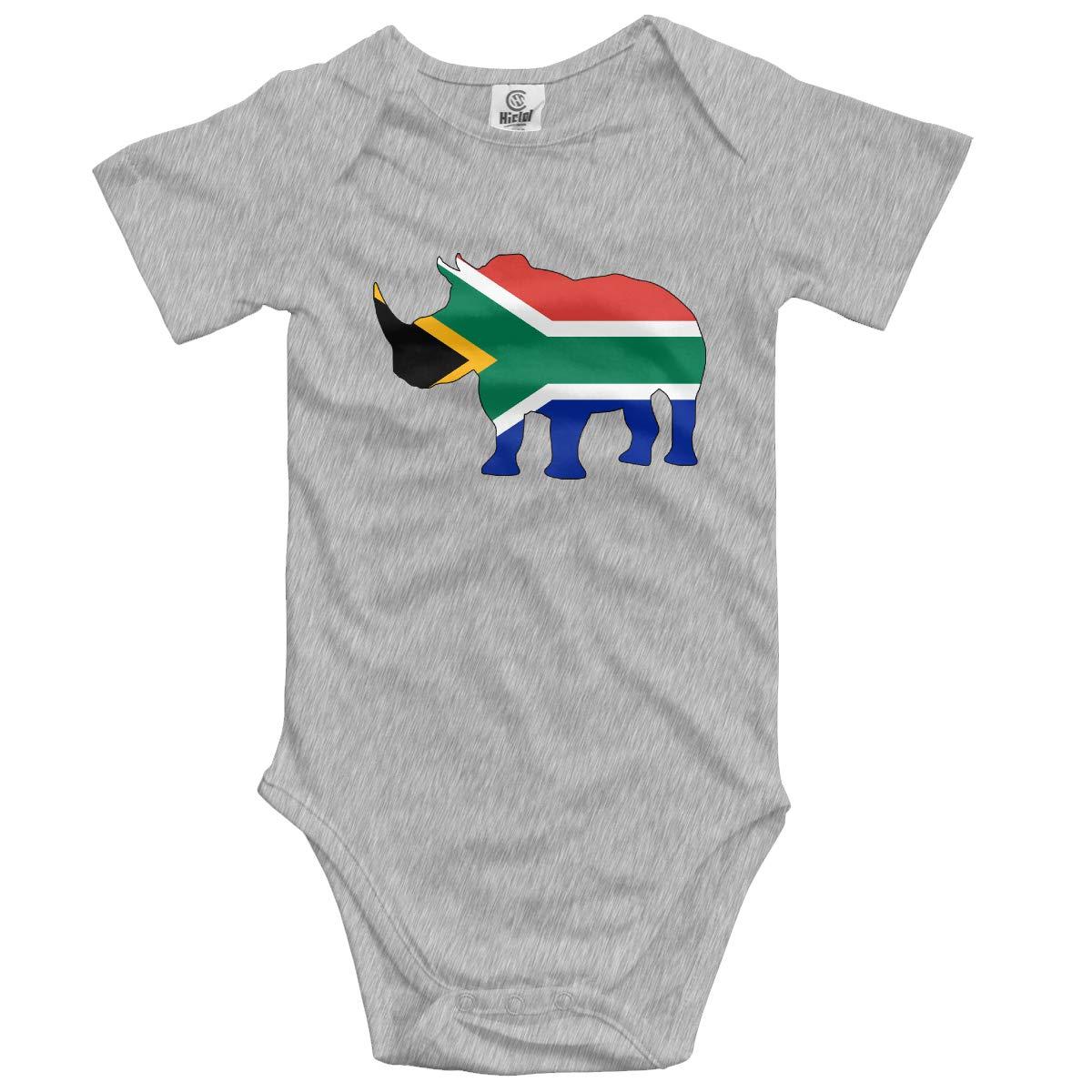 South Africa Flag Rhino Baby Unisex 100/% Organic Cotton Layette Bodysuit 0-24 Months