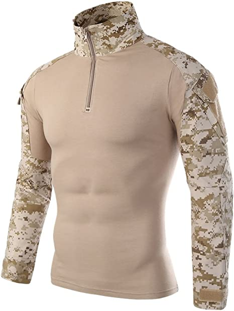 infmetry Hombres de camuflaje uniforme Militar Táctico Combate manga larga camisas, Caqui: Amazon.es: Deportes y aire libre