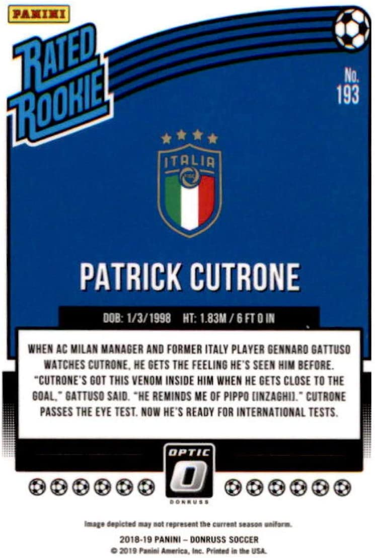Panini Donruss Soccer 2018-19 Rated Rookie 193 patrick Cutrone-Italy