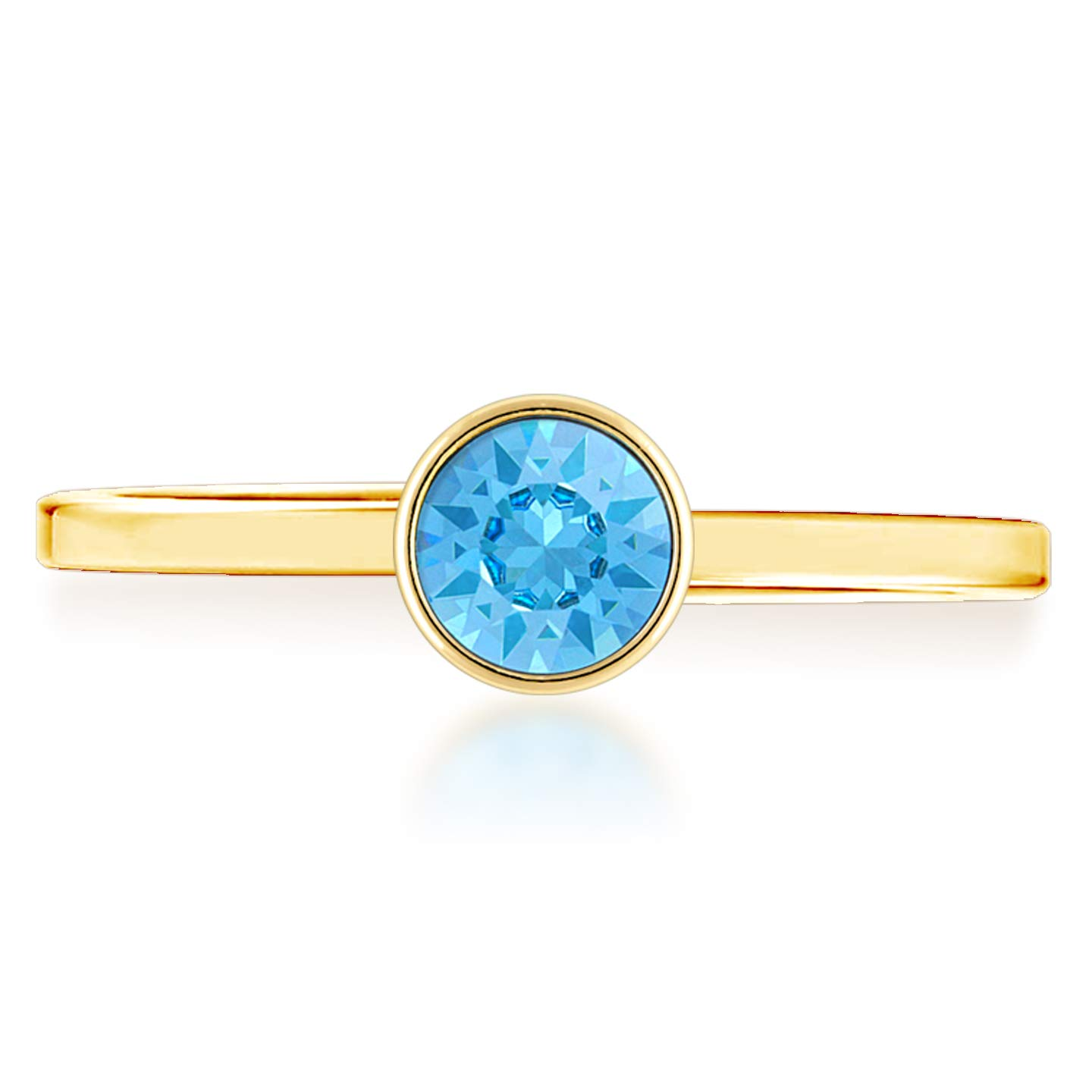 Ed Heart Adjustable Ring with Blue Aquamarine Round Crystals from Swarovski Gold Plated