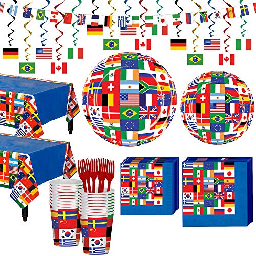 Party City International Flag Party Supplies Deluxe Party Kit for 32 Guests, Includes Table Cover and - Embassy International