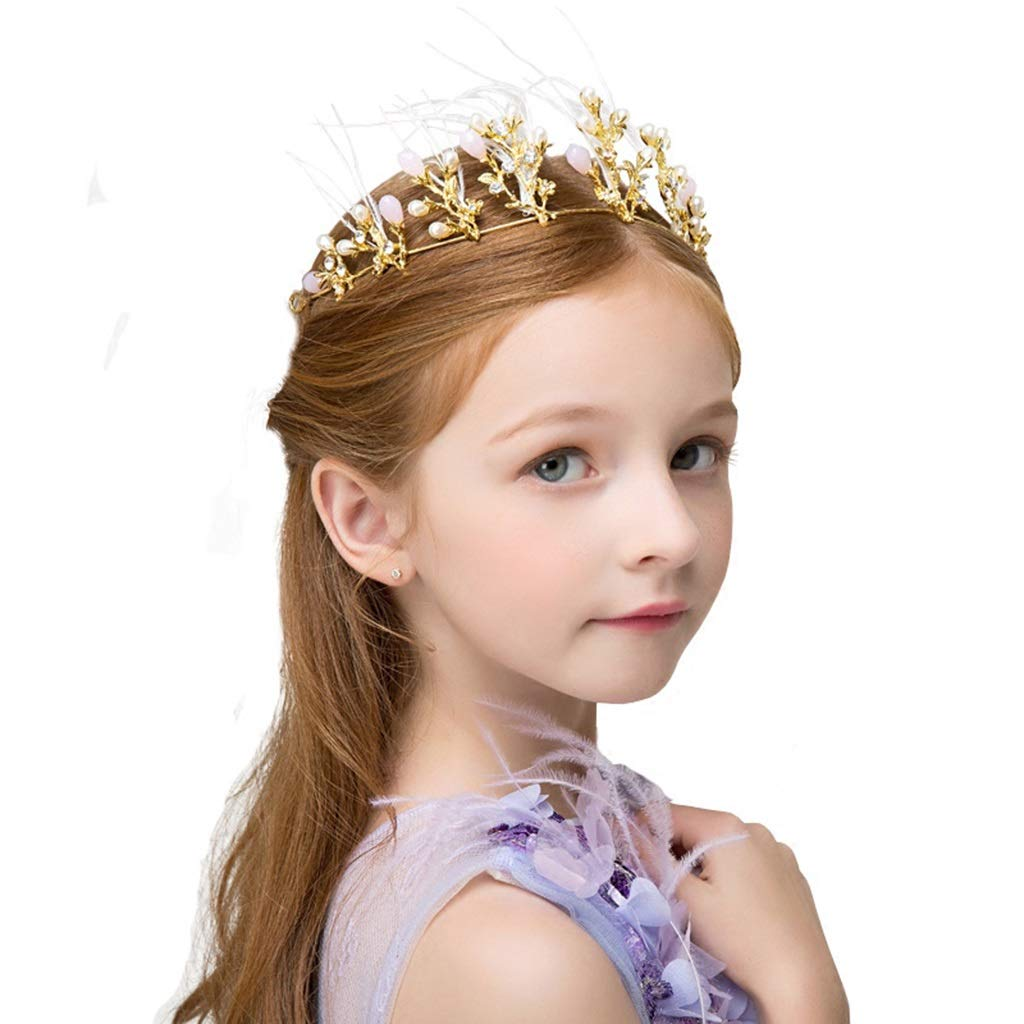 Wreath Garland Girl Crown Headdress Princess Hair Accessories Hairpin Gold Headband Children's Birthday Show Accessories