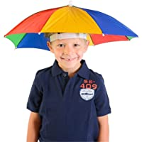 Watermark Hands-Free Colourful Adjustable Elastic Umbrella Hat Size Fits All Ages (Rainbow Colour) - 20 Inches