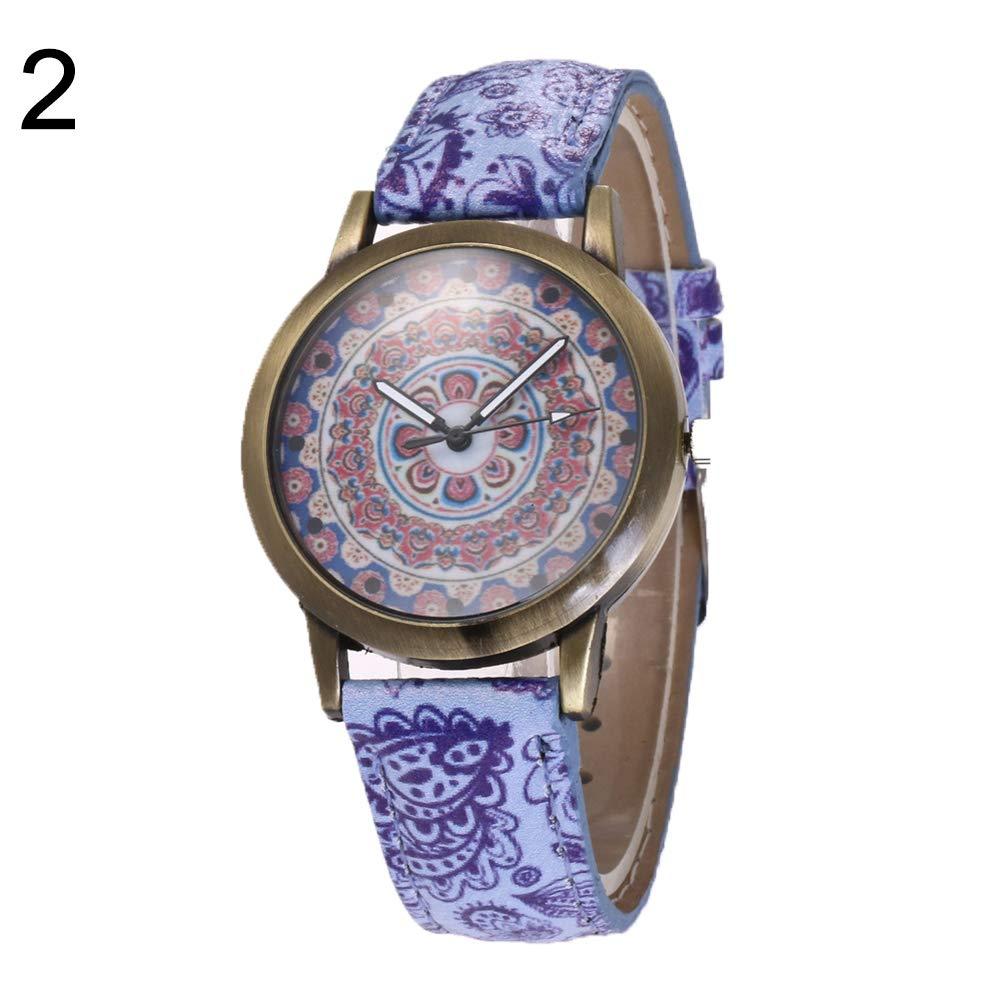 yanbirdfx Bohemia Women Colorful Flower Pattern Round Dial Faux Leather Quartz Wrist Watch - 2#
