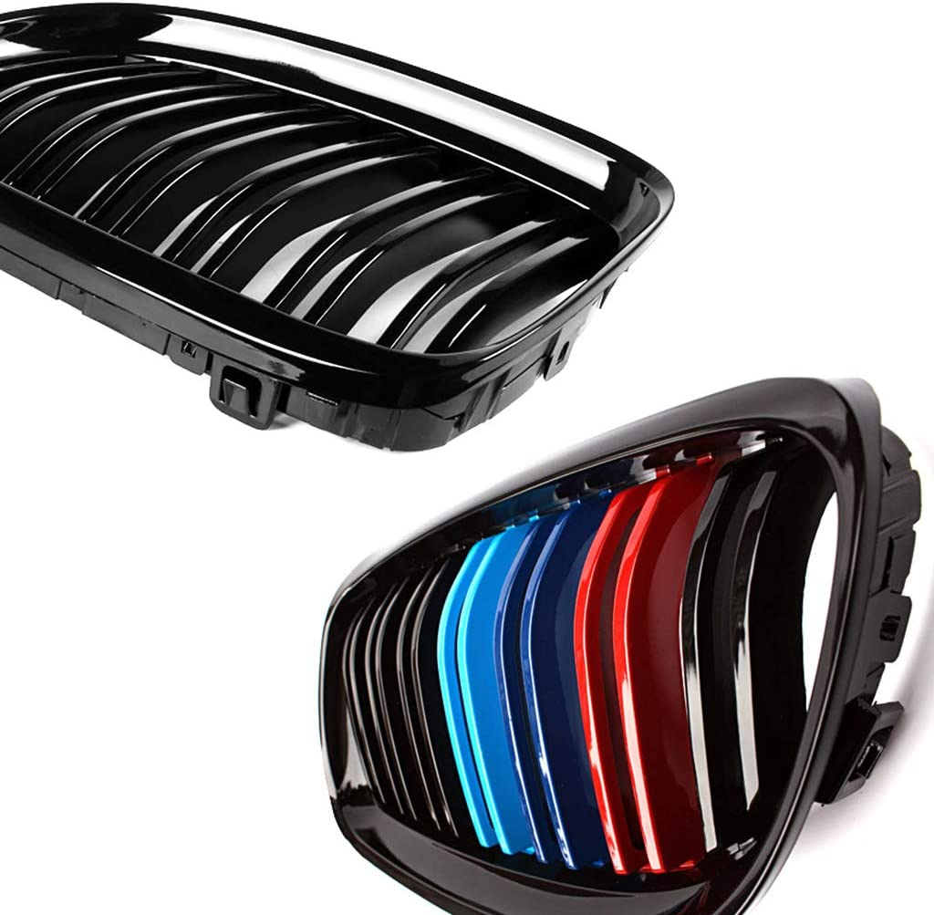 SNA E90 Grill Compatible for 2009-2011 BMW 3 Series E90 E91 Double Slats M Color Kidney Grille, 2-pc Set