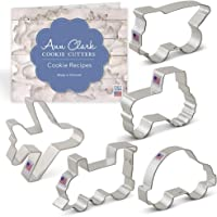 Ann Clark Cookie Cutters 5-Piece Transportation and Vehicles Cookie Cutter Set with Recipe Booklet,Tractor, Train, Dump…
