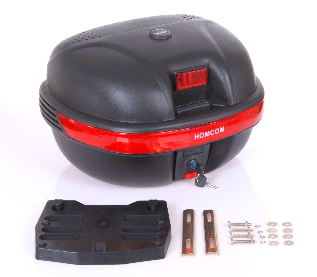 HOMCOM Detachable Scooter Motorcycle Trunk Top Case Lock Storage Luggage T- Box Black (35L) Aosom Canada CA5094-00080231