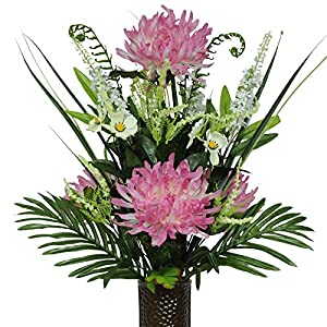 Pink Spider Mums Artificial Bouquet, featuring the Stay-In-The-Vase Design(c) Flower Holder (MD1555) 22