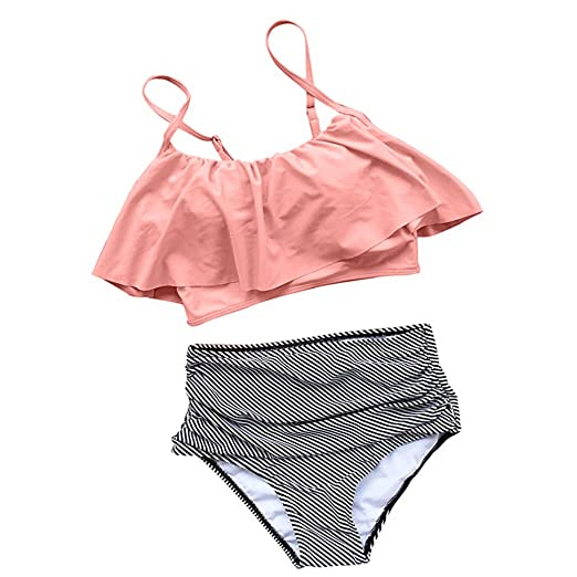 a13706d56b Image Unavailable. Image not available for. Color  Softmusic Women s Sexy  Ruffles Top + High Waist Stripes Panties Bikini Set Bathing Suits ...
