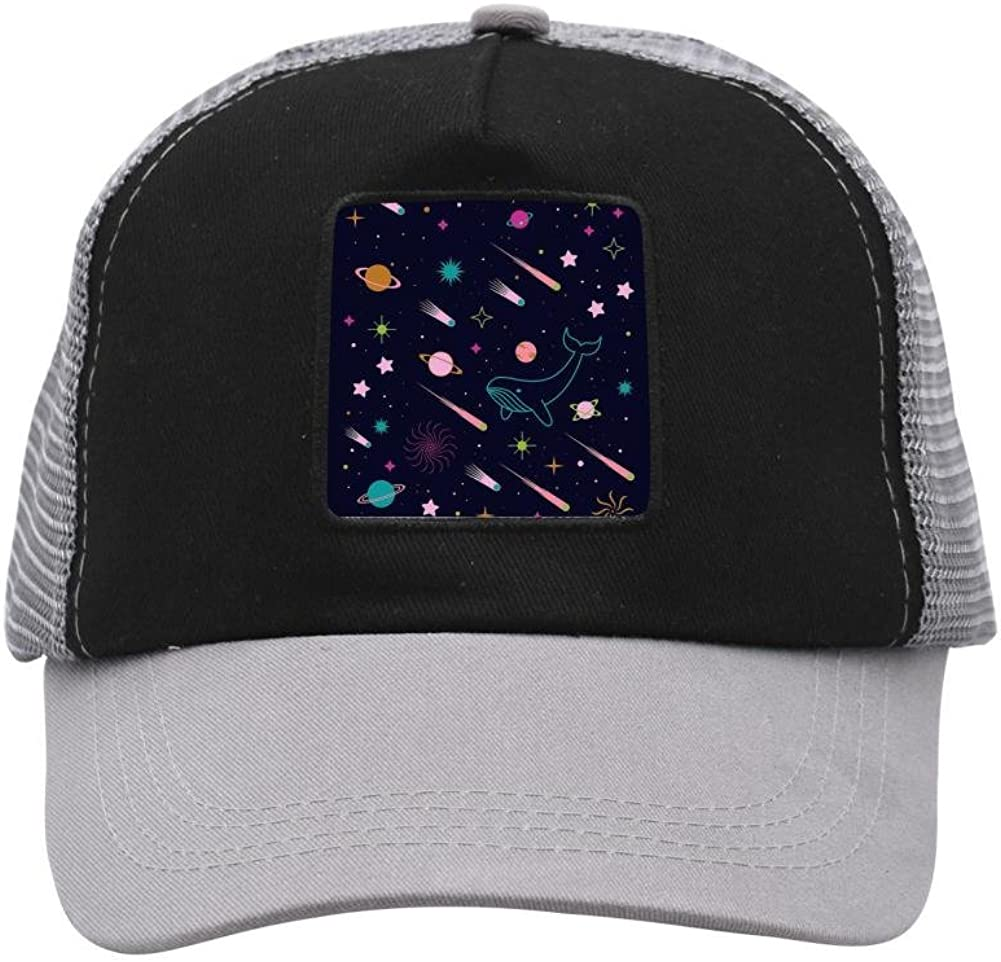 Adult Mesh Cap Hat for Men Women,Print The Sea Creatures in The Starry Sky