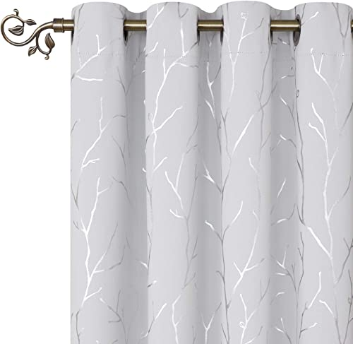 BUHUA Thermal Insulated Curtains Blackout 96 Inch Long Grommet Curtains with Silver Branches Printed for Living Room 52W 96L Inch Greyish White 1 Pair