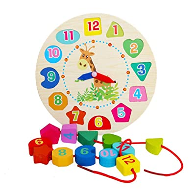 ierkag Kids Clock Building Blocks Toy Cartoon Children Wooden Puzzle Toy Kids Animal Clock Building Blocks Toys: Home Improvement