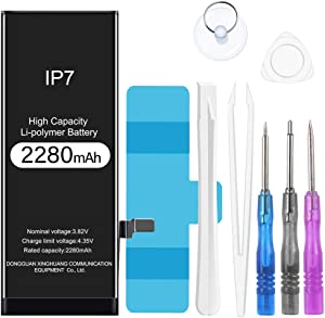 Rommisie 2280mAh Battery for iPhone 7 Battery Replacement, high Capacity Polymer Lithiumion with a Full Set of Professional Maintenance Kits, adhesives and Instructions,Two-Year Warranty