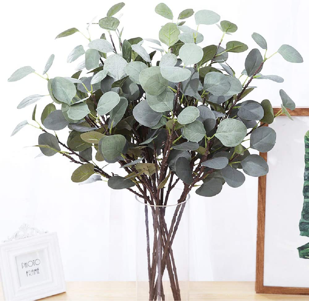 """HEBE 6 Pcs 25.6"""" Tall Artificial Eucalyptus Plants Stems Silk Silver Dollar Eucalyptus Leaf Spray Plastic Plants Bushes Floral Greenery Stems for Home Party Wedding Table Decoration"""