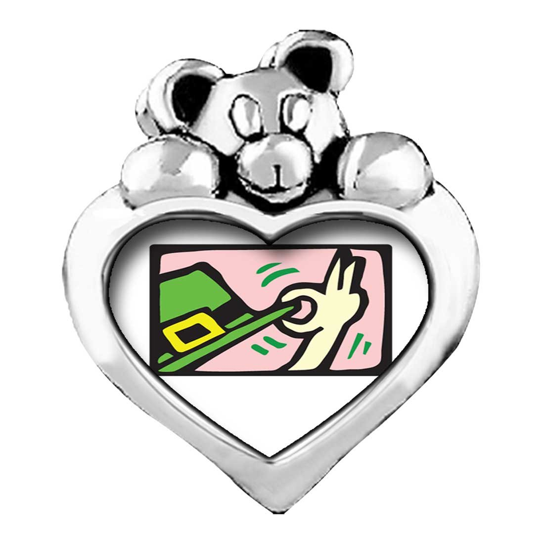 GiftJewelryShop St Patrick Theme Topaz Crystal November Birthstone I Love You Heart Care Bear Charms with Leprechauns Top Hat
