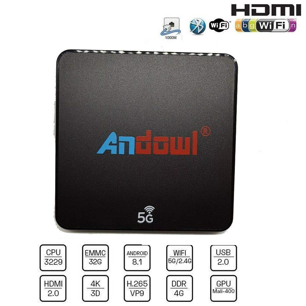 Smart TV Box Android 8.1 4 GB RAM 32 GB ROM WiFi andowl IPTV 4K HD Cable HDMI Mando a Distancia Q-M6 DOBO