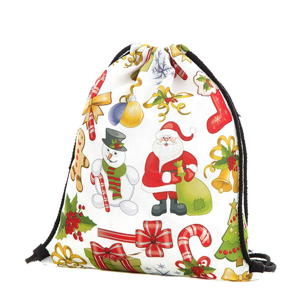 Xeminor Bags Drawstring Bags 3D Printing Backpack Santa Backpack for Party Favors Gifts and Candy by Xeminor (Image #1)
