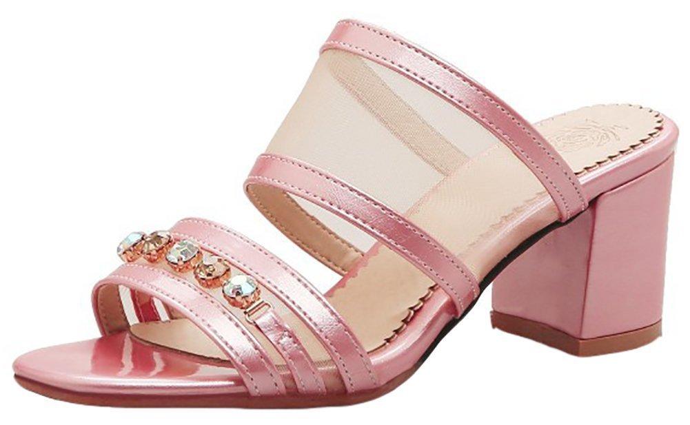 Mofri Women's Stylish Rhinestones Mesh Open Toe Slip On Mid Chunky Heel Mules Sandals (Pink, 7 B(M) US)