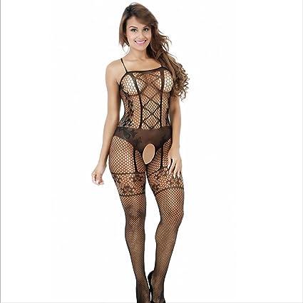 Ropa interior erótica QFQ Conjunto de lencería Sexy Perspectiva Sexy de Malla Negra Juego de Caracteres