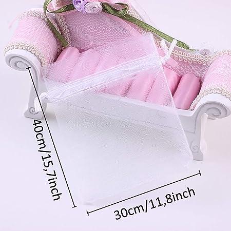 Gastgeschenke Pink S/ü/ßigkeitenbeutel 10 x 15 cm f/ür Hochzeiten Organza-Geschenkbeutel mit Kordelzug Babypartys f/ür Schmuck 100 St/ück
