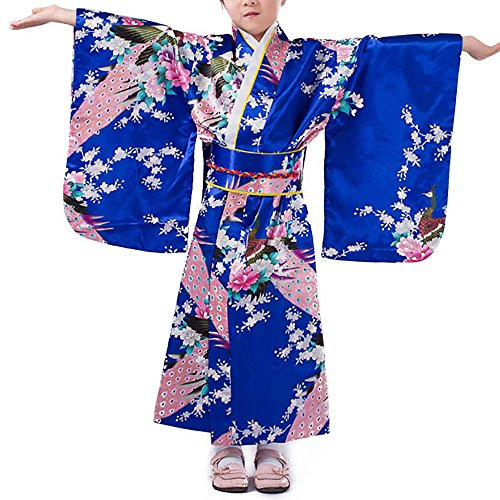 Girls Kimono Costume Japanese Asian Top Dress Robe Sash Belt Fan Set Outfit (Medium, Blue) for $<!--$32.00-->