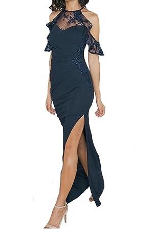Lipsy cold shoulder Lace Trim Maxi Evening Dress