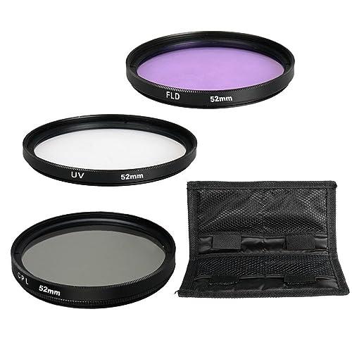 52mm Lens Filter, BPS 3pcs Camera Lens Filter Set: 52mm UV Lens Filter + CPL Filter + FLD Filter for Nikon D3100 D3200 D5100 D5200 D5300 D5500, Canon 1200D 70D 5D 7D