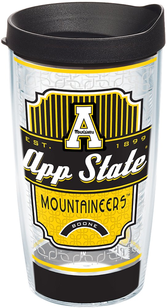 Tervis 1228654 Appalachian State Mountaineers Pregame Prep Tumbler with Wrap and Black Lid 16oz, Clear