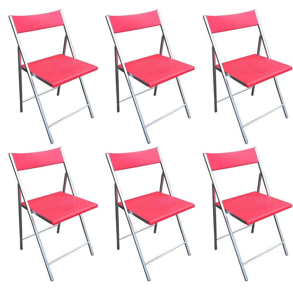 MILANI HOME Set di 6 SEDIE Pieghevoli con Seduta Rossa in PVC E Struttura in Metallo Verniciato per Ufficio CASA Campeggio Ospiti Cucina Camera da Letto