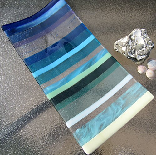- Fused Glass Platter Ocean Beach Glass Serving Tray Sea Glass Plate Beach Wedding Gift Beach House Decor