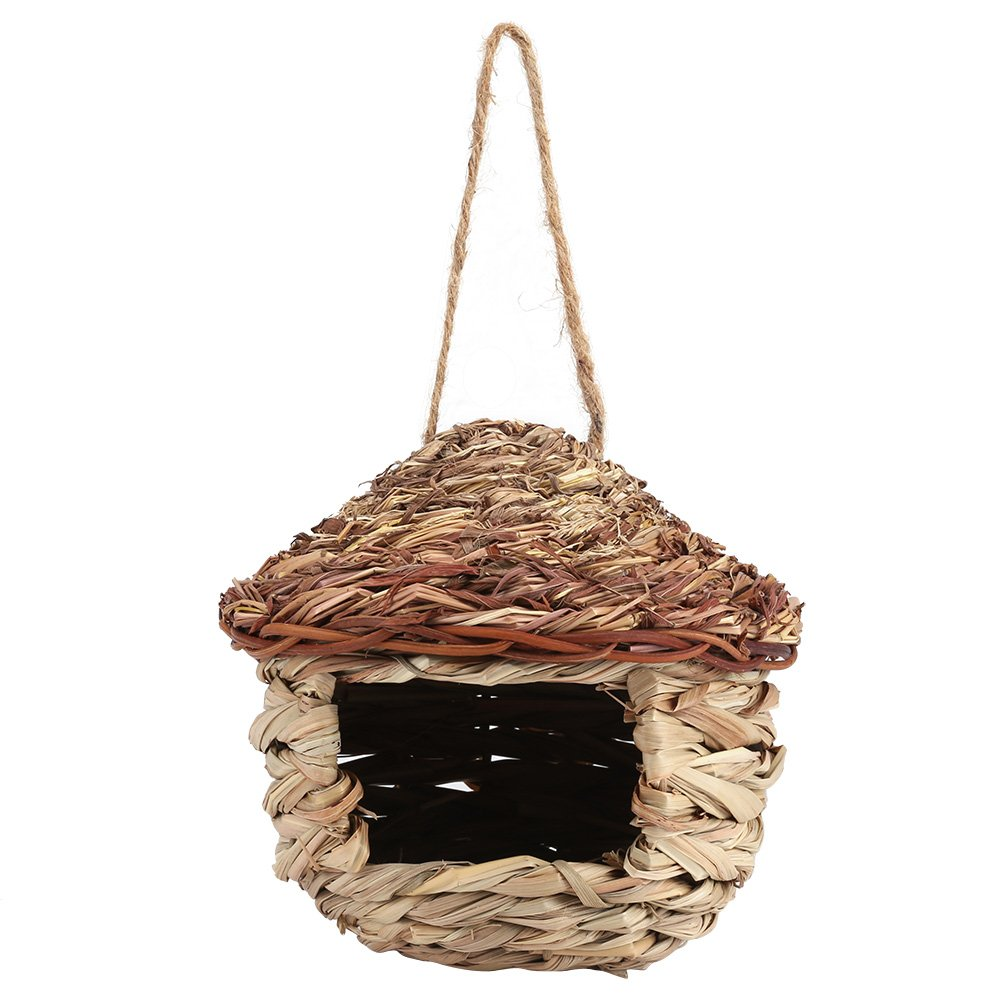 Fdit Handwoven Straw Bird Nest Cage House Hatching Breeding Cave in 3 Size for Parrot, Canary or Cockatiel or Other Birds(M)