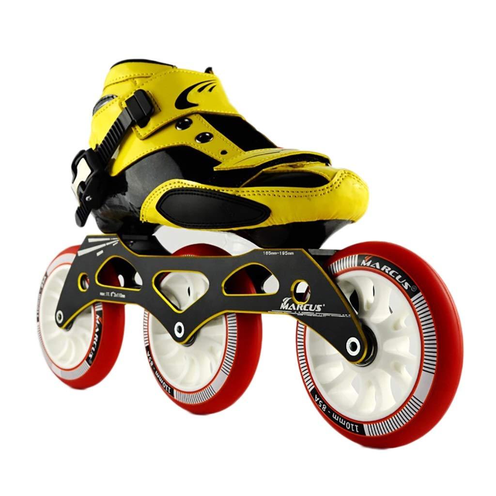 NUBAOgy インラインスケート、90-110ミリメートル直径の高弾性PUホイール、3色で利用可能な子供のための調整可能なインラインスケート (色 : Green, サイズ さいず : 37) B07J2YD727 36|Red Red 36