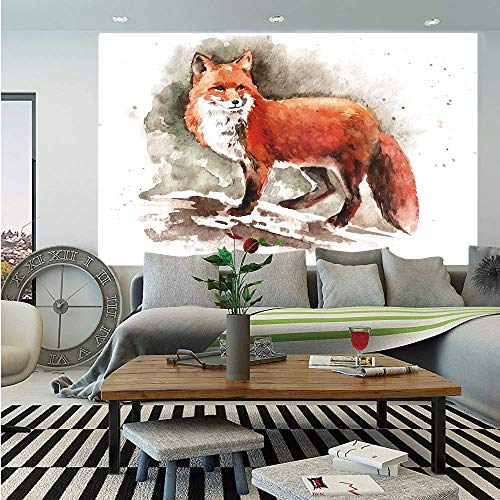 Fox Removable Wall Mural,Watercolor Hand Drawn Red Fox with Bushy Tail Brushstrokes Tod Mammal Decorative,Self-Adhesive Large Wallpaper for Home Decor 66x96 inches,Burnt Sienna White Brown