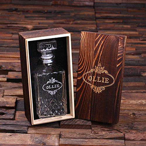 Personalized Whiskey Decanter with Wood Gift (Decanter Box)
