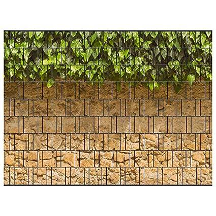 PerfectHD Zaunsichtschutz, Windschutz (30 versch. Motive) für Doppelstabmattenzaun *Efeu und Mauer* einseitig, 19cm, 9 Streif